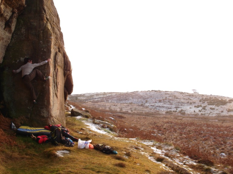 Jackie on an arete at Bowden Doors in December.